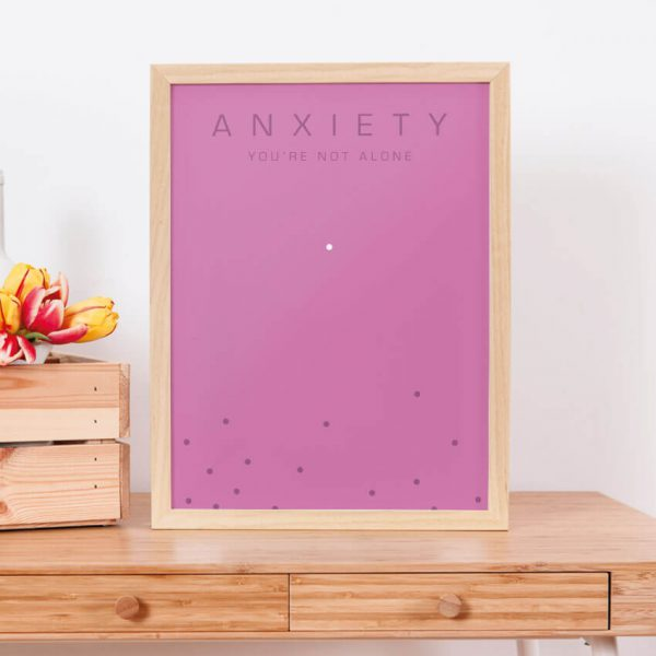 Anxiety poster, you're not along in pink within a frame