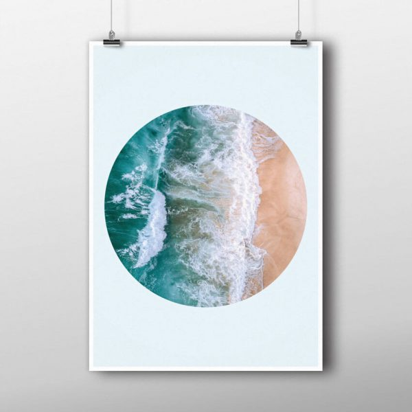 Sea in a circle poster hanging up