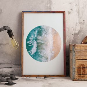 Sea in a circle poster within a frame